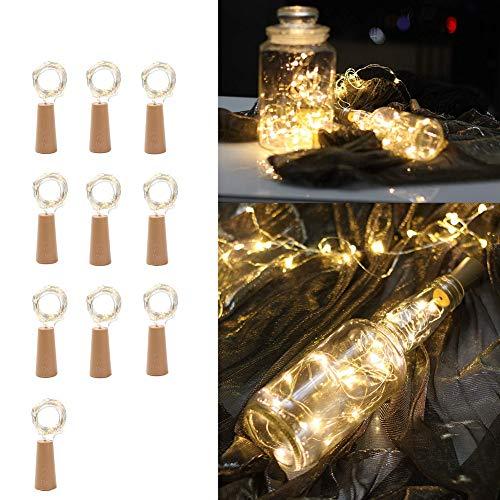 GYFHMY 10 stuks wijnflesjes kurk lamp mini licht met fee koperdraad batterij aangedreven 20 LED snoer voor party bruiloft DIY geschenk decoratie warm wit