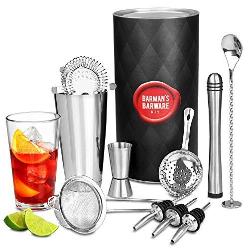 bar@drinkstuff - Kit da barman, set per preparare cocktail e bevande, con shaker Boston in latta e vetro, misurino, miscelatore, cucchiaio mixer, versatore, colino per cocktail Hawthorne, colino per cocktail Julep e setaccio conico da cocktail