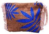 Bali PAPAYA - Bolso de mano de arpillera - Neceser de maquillaje étnico vintage artesanal forrado bohemio para mujer, ecológico, natural, hoja azul