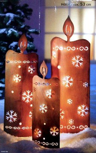 XL Maxi Licht Leucht Deko KERZEN Lichterkette Metall Außenbeleuchtung Innendeko Innenbeleuchtung Außendeko Weihnachtsbeleuchtung LED 17 LED s Leuchtdeko Gartenbeleuchtung Metall in Antik Finish Standleuchtdeko Leuchtdeko Lichtdeko
