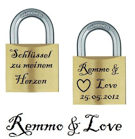 Remmo&Love Liebesschloss Messsing mit 2 Seiten Gratis Gravur Liebeschloss Liebes Schloss Geschenk Valentinstag Hochzeit Jahrestag Geburtstag Muttertag Weihnachten Liebesgeschenk zu ewiger Liebe Schlüssel zu meinem Herzen