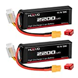 HOOVO 3S 11.1V 2200mAh 50C Lipo Battery with XT60 and Deans Connector for RC Helicopter Airplane Quadcopter UAV Drone FPV (2 Pack)