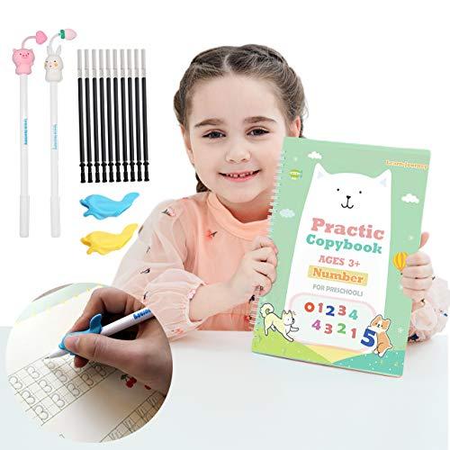 Magic Practice Copybook for Kids - The Print Handwiriting Workbook-Reusable Writing Practice Book for Preschools(Number Book with Pen)