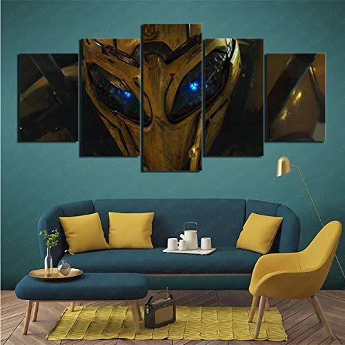 CJJCILEF Movie Bumblebee 5 joint painting 3D HD printing canvas Living room decoration 150x80cm Frameless