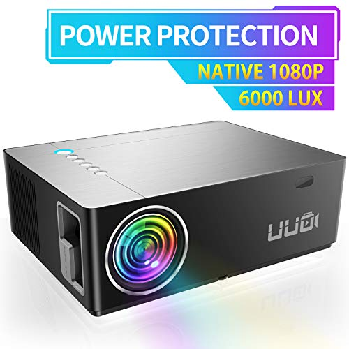 "UUO Native 1080P Projector 6000 Lux Led Projector,Support 4K HD Video 300"" Display Zoom ±50° Digital Keystone,Compatible with TV Stick,PS4,X-Box,Laptop,iPhone Android for Home Theater (Brushed Silver)"