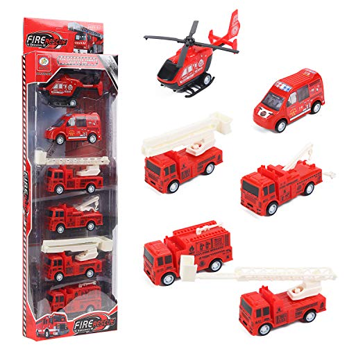 Herefun 6 Pcs Camión de Bombero Coches de Juguetes, Juegos Vehículos, Mini Diecast Vehículos de Bomberos Tire hacia Atrás Coches, Educativo Juguete Conjunto de Juguetes para Niños Niñas