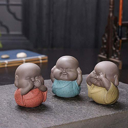 Mnjin Decoración 3 Piezas Mini estatuas de Buda Monjes Esculturas Decorativas Estatuilla de cerámica India Yoga Monjes caseros Escultura Buda Dropshipping