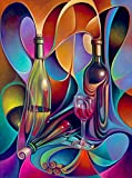 21secret 5D Diamond DIY Painting Full Drill Handmade Colorful Wine and Goblet Abstract Bottle Stitch Home Decor Embroidery Kit