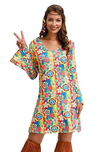 BesserBay Hippie Kostüm Für Damen Peace Love 60er 70er Flower Power Party Halloween Kleider Rainbow S