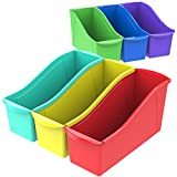 Storex 70110U06C Book Bin, Assorted Colors, Color Assortment WILL Vary, Case of 6, 14.3 x 5.3 x 7 Inches