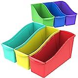 Storex 70110U06C Book Bin Assorted Colors Case of 6 14.3 x 5.3 x 7 Inches