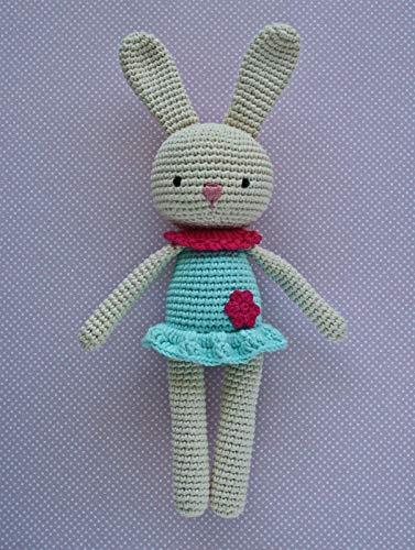 Häkeltier Hasenmädchen Maja natur/türkis aus Baumwolle Handarbeit