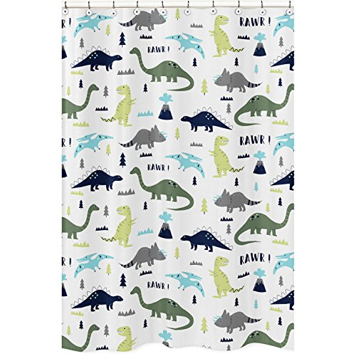 Blue and Green Modern Dinosaur Childrens Kids Bathroom...