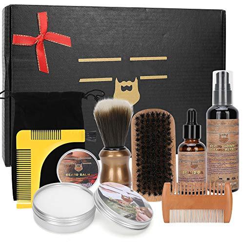 Kit de aseo para barba, guía de plantillas para barba, cepillo para barba, aceite para barba, bálsamo para barba, champú para barba, jabón para barba, cepillo de espuma de afeitar, bolso de mano, pein