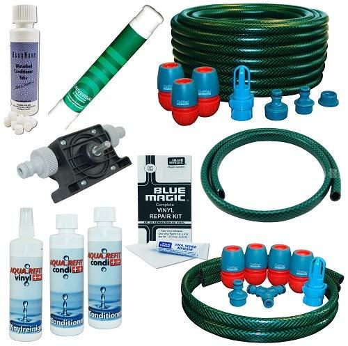 Wasserbetten Service Set DUAL mit Bohrmaschinenpumpe Conditioner Vinylreiniger Schlauch AQUA REFIT