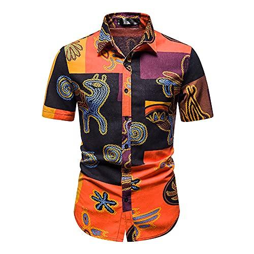 Hawaiana Camisa Hombre Cuello Kent Moderno Ajustado Hombre Playa Shirt Personalidad Estampado Botón Placket Manga Corta Casuales Camisa Verano Casual Vacaciones Deportiva Shirt K-Multicolor 10 XL