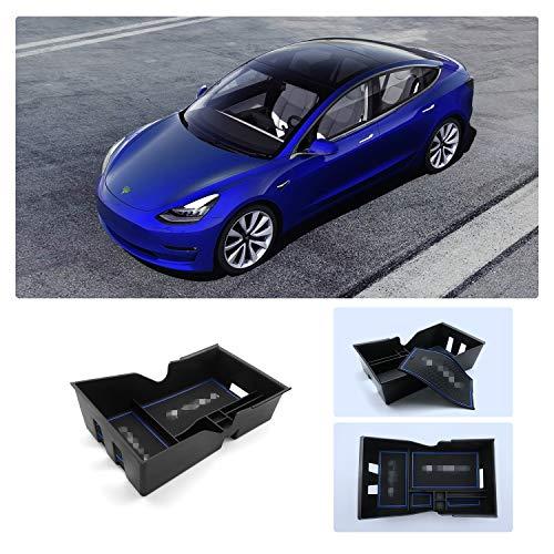 RUIYA Aufbewahrungsbox Aufbewahrungskiste Mittelkonsole Organizer Mittelkonsole Veranstalter Armlehne Box angepasst für 2018 2019 Tesla Model 3, Konsole Organizer Box einstellen Insert Tray (Blau)