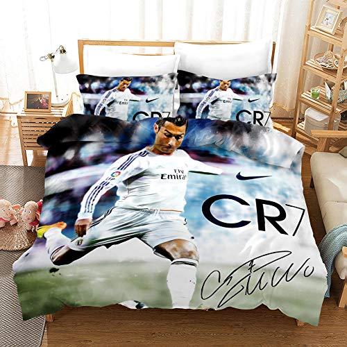 Duvet Cover Single Bed 135 x 200 cm with 2 Pillowcases 50 x 75 cm Bedding 3-piece set by Microfiber with Zipper Ronaldo printing Duvet Cover set