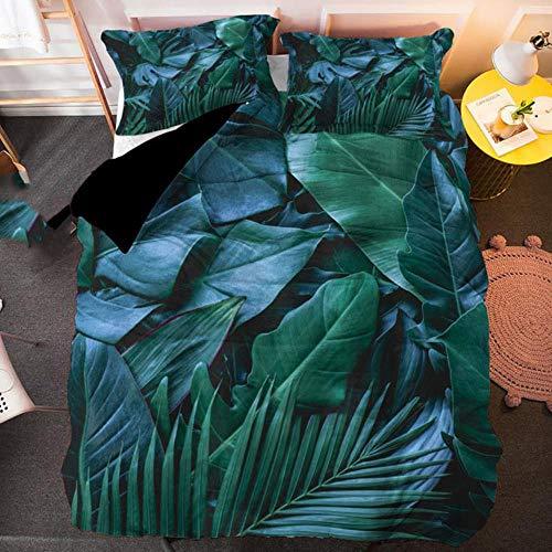 Juego de ropa de cama con funda de edredón y funda de almohada a juego, diseño de hojas, color verde