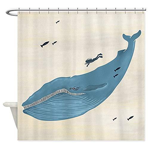 Owen Cocker Blue Whale Peeking Out of The – Duschvorhang, Weiß