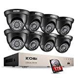 ZOSI CCTV Kit de Cámaras de Seguridad 720P Sistema de Vigilancia 8CH HD Grabador DVR + (8) Cámara de Vigilancia Exterior + 1TB Disco Duro, Detección de Movimiento, Acceso Remoto