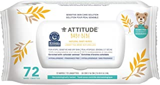 ATTITUDE Sensitive Skin Baby Wipes, Hypoallergenic Unscented All Natural Baby Wipes, Wipes Dispenser 72 Count Fragrance-Free