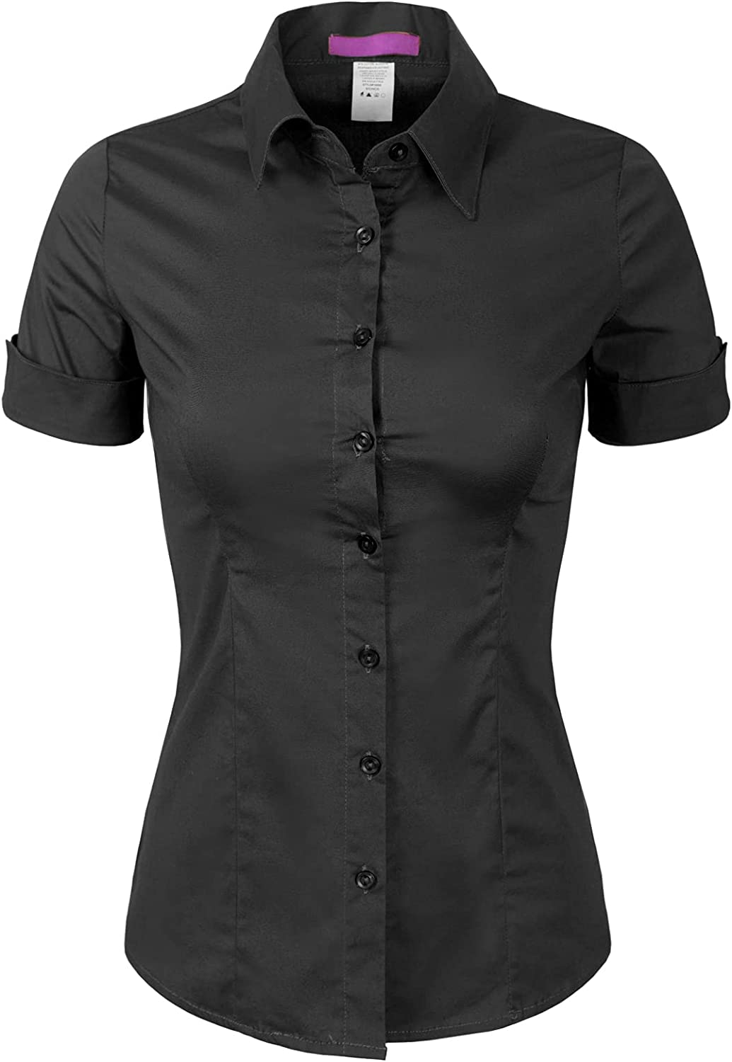 Design by Olivia Women's Junior Fit Short Sleeve Stretchy Button Down Collar Office Formal Casual Blouse Shirts Top (S-3XL)