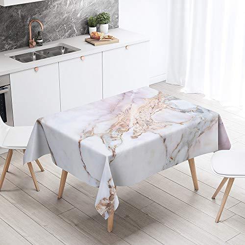 Himlaya 3D Mármol Impresión Rectangular Impermeable Manteles, Mantelerias Antimanchas Lavable, Decoracion Mantel de Mesa, para Cocina Salón Comedor (Mármol Rosa,100x140cm)