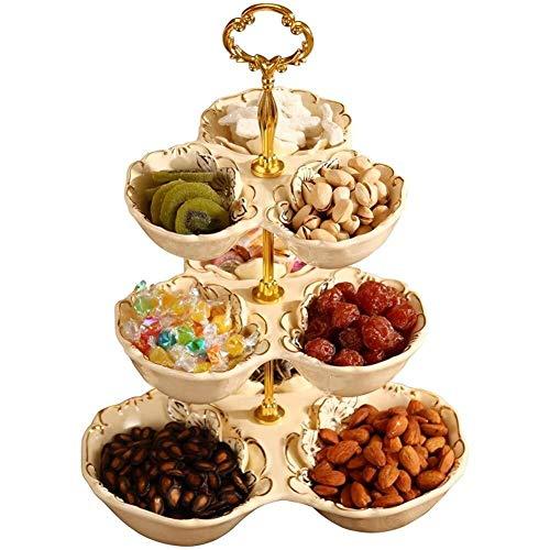 AINIYF Bandeja de fruta, placa de cerámica de la fruta, secar bandeja de fruta, 1 juego de soporte de la torta de tres niveles y Tortas Postres Frutas de la comida fría del soporte for la boda y Homep
