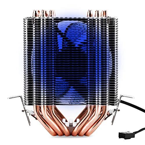 Vbestlife CPU Air Cooler, CPU Air Extracting Koeling Radiatoren met Vacuüm Ventilator en LED, 4pin 6 Heatpipe, Snelheid Verstelbare Temperatuur Controle Laag-noise Warmtegootsteen voor Intel & AMD