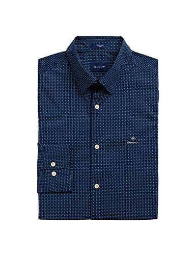 Guante camisa casual azul algodón hombre