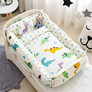 Abreeze Baby Bassinet for Bed, Dinosaur Baby Lounger Comforter,Baby Nest,Cotton Crib Breathable & Hypoallergenic Co-Sleeping Baby Bed,100% Cotton Portable Crib Pillow for Bedroom/Travel/Camping