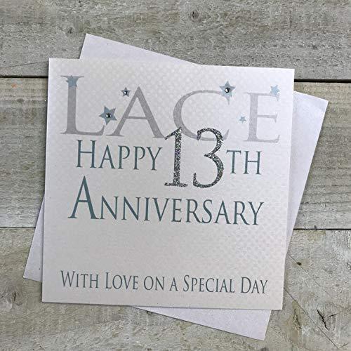 witte katoenen kaarten Kant Gelukkig 13e Liefde Op Een Speciale Dag, Handgemaakte Verjaardagskaart (Code AW13)