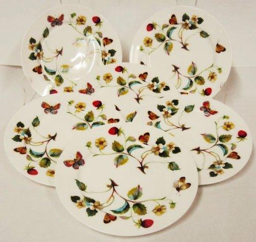 Fraises et papillons Assiettes 15,2 cm Lot de 6 Assiettes en porcelaine fine décorée à la main au Royaume-Uni Livraison gratuite au Royaume-Uni