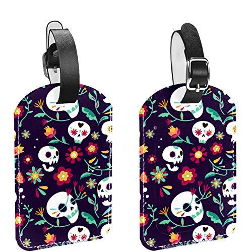 Paquete de 2 etiquetas de equipaje, de piel sintética, etiquetas de identificación de nombre con cubierta de privacidad para bolsa de viaje, maleta, bolsas escolares, calaveras florales