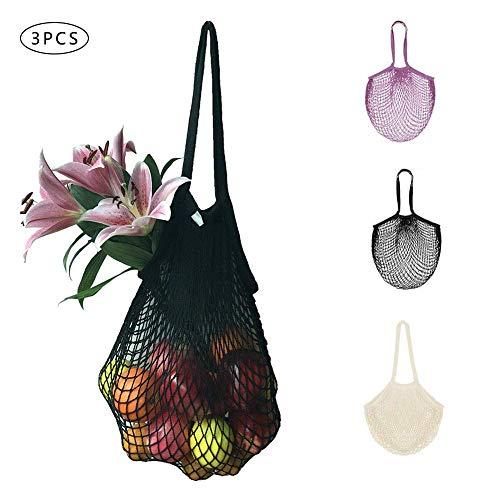 Einkaufstasche aus Netzstoff, mit Griff, umweltfreundlich, tragbar, wiederverwendbar, für Lebensmittelprodukte, Aufbewahrung von Obst, Gemüse, 3 Stück
