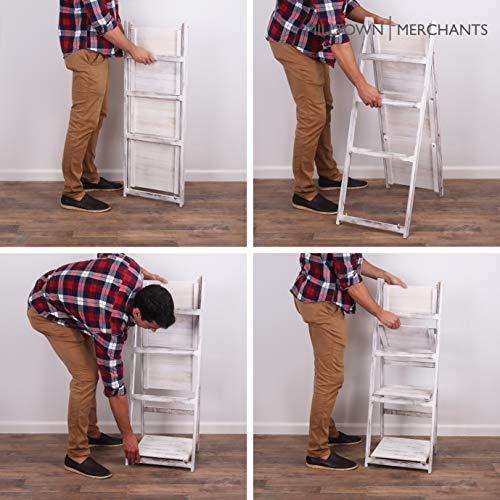 Milltown Merchants Ladder Shelf - Wooden Ladder Bookshelf - Leaning Bookshelf - Rustic Bookcase - Folding Bookcase (Distressed White Ladder Shelf)