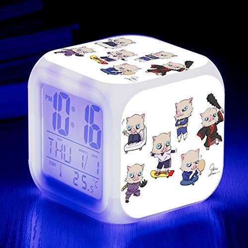 Totots Reloj de alarma electrónico para Hashibira Inosuke, demonio Slayer Anime Alarma de alarma colorido, reloj de alarma de calendario de temperatura cuadrada de dibujos animados, despertador de des