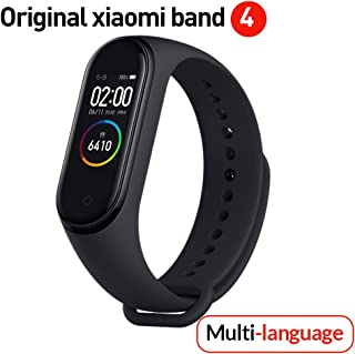 Versión global Xiaomi Banda 4 inteligente Pantalla a color Pulsera Frecuencia cardíaca Gimnasio Música Bluetooth5.0 50M Impermeable,Podómetro y notificaciones de mensajería, Negro