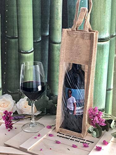 Vino personalizado presentada en atractiva bolsa de yute con ventana, ideal para regalo personalizado el día del padre, día de la madre, aniversario, botella de vino con foto