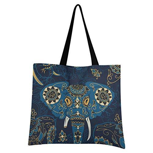 XIXIXIKO - Bolso de lona para mujer, diseño de elefante indio y floral, ligero, para playa, bolsa de hombro, resistente