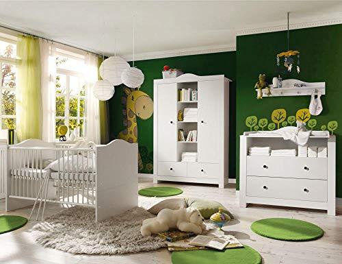 storado.de Babyzimmer Paris weiß matt 5 TLG. dunkle Griffe Komplett Set Baby