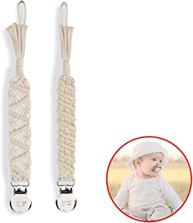 Macrame Baby Pacifier Clips, Braided Pacifier Leash &Teething Toys-Best for Boys and Girls , Baby Shower Gifts (Beige)