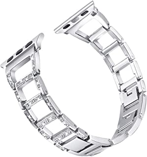 Naisicatar Bracelet De Montre Montre en Acier Inoxydable Glitter Trapézoïdal Bracelet
