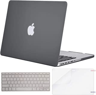 MOSISO Case Only Compatible with Older Version MacBook Pro Retina 13 inch (Models: A1502 & A1425) (Release 2015 - end 2012), Plastic Hard Shell & Keyboard Cover & Screen Protector, Gray