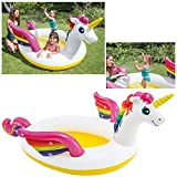 Intex- Piscina Kids Unicorno con Spruzzino, Multicolore, 272 x 193 x 104 cm, 57441