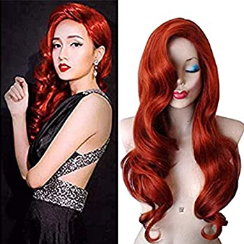FVCENT Long Curly Copper Red Jessica Rabbit Costume Wig  Whole Set