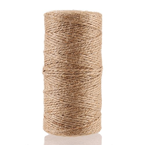CCINEE Natural Jute Twine 328 Feet Burlap Rope String for DIY Crafts, Festive Decoration, Gift Wrapping and Gardening Applications 2mm(2 Ply)