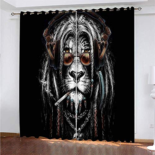 Michance 3D Digital Printing Blackout Curtains 2-Piece Balcony Curtain Suitable For Curtains In Hotels, Rooms And Kitchens Easy Installation