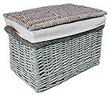Pequeñas cestas de mimbre. Forro extraíble lavable. Elegante solución de almacenamiento. Para artículos de aseo, juguetes, zapatos y ordenar. En baños y dormitorios, Gris y cuerda, Small